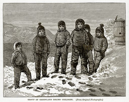 Group of Greenland Eskimo Children. Illustration from The Countries of the World by Robert Brown (Cassell, c 1890).