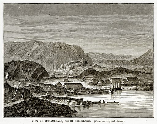 View of Julianehaab, South Greenland. Illustration from The Countries of the World by Robert Brown (Cassell, c 1890).