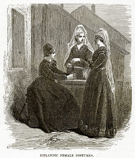 Icelandic Female Costumes. Illustration from The Countries of the World by Robert Brown (Cassell, c 1890).
