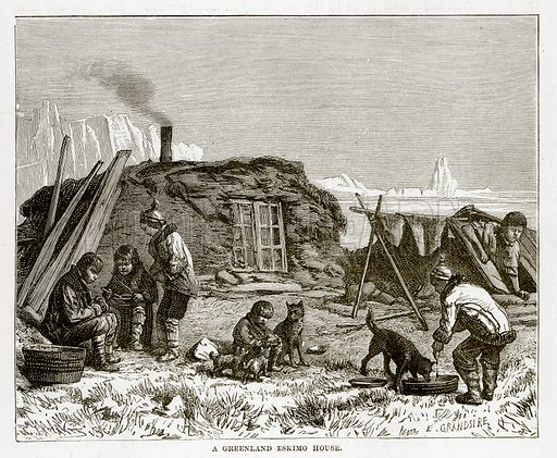 A Greenland Eskimo House. Illustration from The Countries of the World by Robert Brown (Cassell, c 1890).