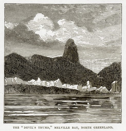 "The ""Devil's Thumb,"" Melville Bay, North Greenland. Illustration from The Countries of the World by Robert Brown (Cassell, c 1890)."