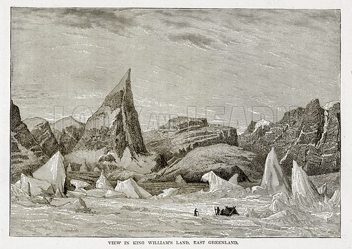 View in King William's Land, East Greenland. Illustration from The Countries of the World by Robert Brown (Cassell, c 1890).