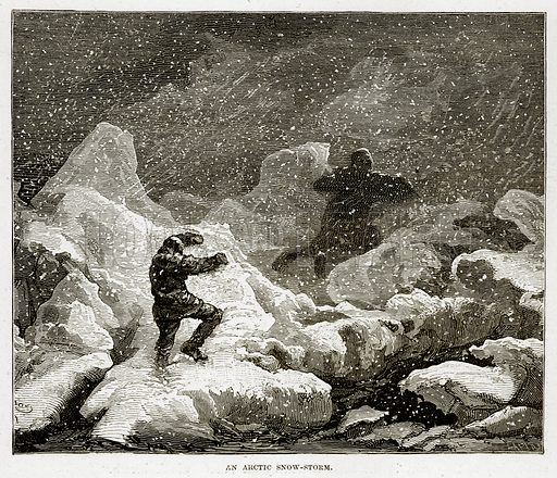 An Arctic Snow-Storm. Illustration from The Countries of the World by Robert Brown (Cassell, c 1890).
