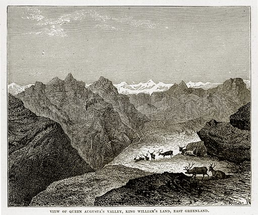 View of Queen Auguta's Valley, King William's Land, East Greenland. Illustration from The Countries of the World by Robert Brown (Cassell, c 1890).