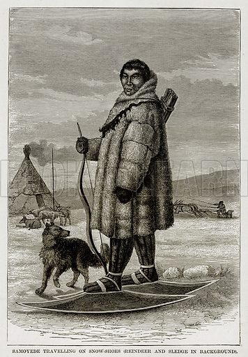 Samoyede Travelling on Snow-Shoes (Reindeer and Sledge in background). Illustration from The Countries of the World by Robert Brown (Cassell, c 1890).