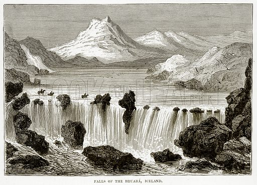 Falls of the Bruara, Iceland. Illustration from The Countries of the World by Robert Brown (Cassell, c 1890).