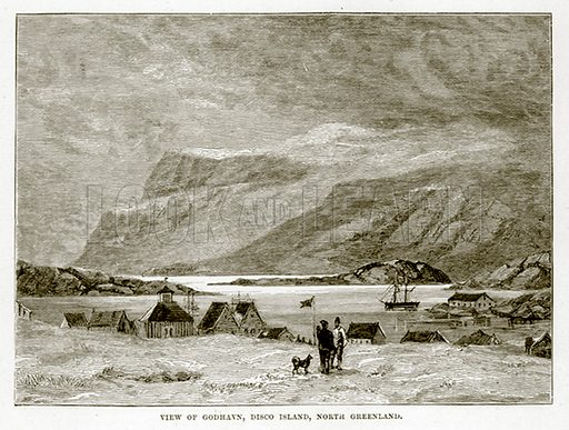 View of Godhavn, Disco Island, North Greenland. Illustration from The Countries of the World by Robert Brown (Cassell, c 1890).