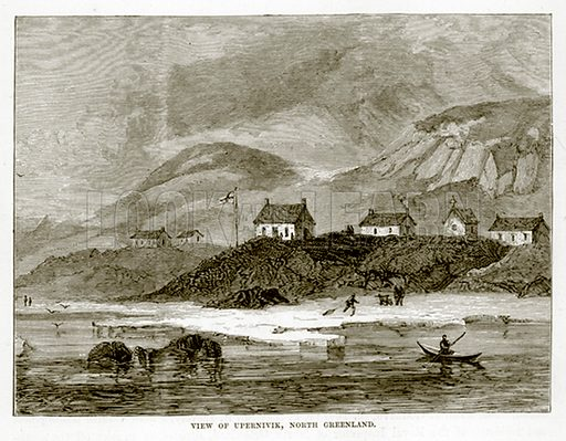 View of Upernivik, North Greenland. Illustration from The Countries of the World by Robert Brown (Cassell, c 1890).