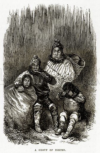 A Group of Eskimo. Illustration from The Countries of the World by Robert Brown (Cassell, c 1890).