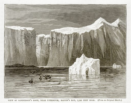View of Sanderson's Hope, near Upernivik, Baffin's Bay, 3,300 feet high. Illustration from The Countries of the World by Robert Brown (Cassell, c 1890).