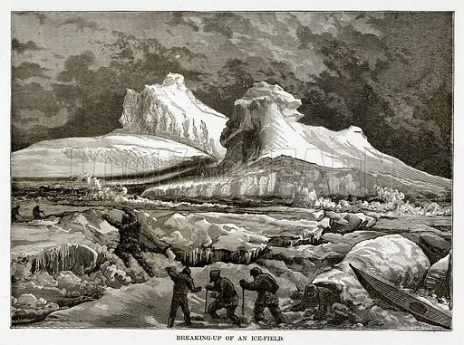 Breaking-Up of an Ice-Field. Illustration from The Countries of the World by Robert Brown (Cassell, c 1890).