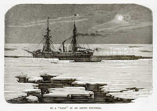 "In a ""Lead"" in an Arcic Ice-Field. Illustration from The Countries of the World by Robert Brown (Cassell, c 1890)."