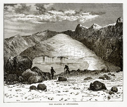The Glacier of Hunerberg. Illustration from The Countries of the World by Robert Brown (Cassell, c 1890).