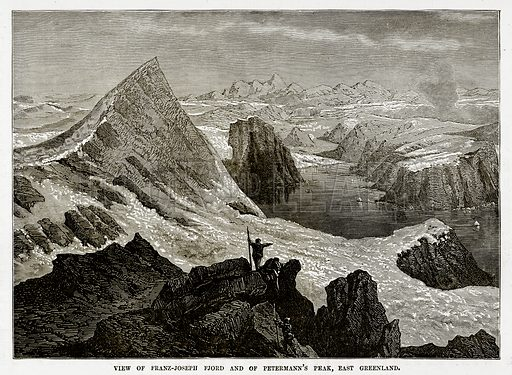 View of Franz-Joseph Fjord and Petermann's Peak, East Geenland. Illustration from The Countries of the World by Robert Brown (Cassell, c 1890).