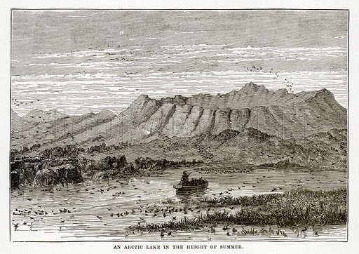 An Arctic Lake in the Height of Summer. Illustration from The Countries of the World by Robert Brown (Cassell, c 1890).