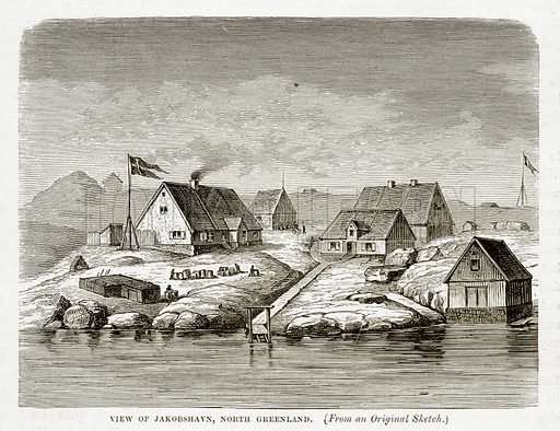 View of Jakobshavn, North Greenland. Illustration from The Countries of the World by Robert Brown (Cassell, c 1890).