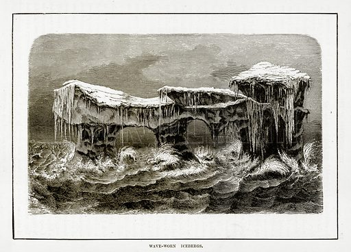 Wave-Worn Icebergs. Illustration from The Countries of the World by Robert Brown (Cassell, c 1890).