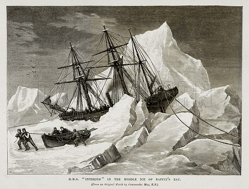 """H.M.S. """"Intrepid"""" in the Middle Ice of Baffin's Bay. Illustration from The Countries of the World by Robert Brown (Cassell, c 1890)."""