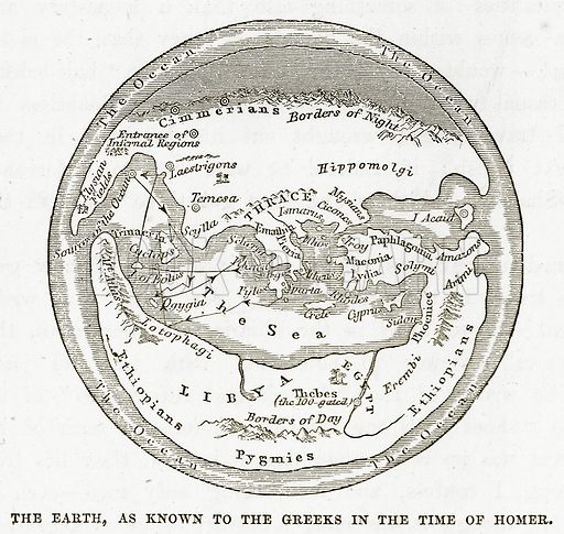 The Earth, as known to the Greeks in the Time of Homer. Illustration from The Countries of the World by Robert Brown (Cassell, c 1890).