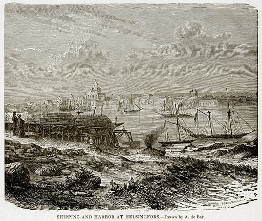 Shipping and Harbor at Helsingfors. Illustration from With the World