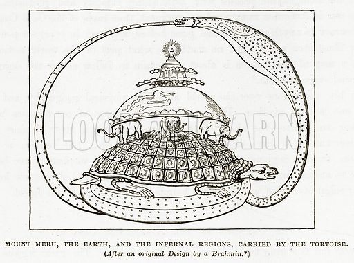 Mount Meru, the Earth, and the Infernal Regions, carried by the Tortoise. Illustration from The Countries of the World by Robert Brown (Cassell, c 1890).