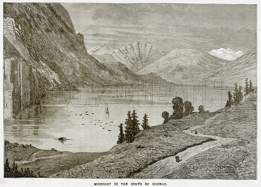 Midnight in the North of Norway. Illustration from The Countries of the World by Robert Brown (Cassell, c 1890).