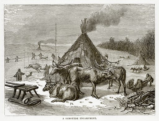 A Samoyede Encampment. Illustration from The Countries of the World by Robert Brown (Cassell, c 1890).