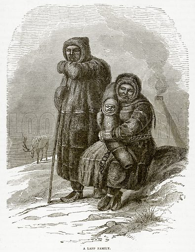 A Lapp Family. Illustration from The Countries of the World by Robert Brown (Cassell, c 1890).