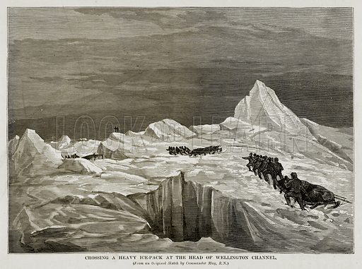Crossing a Heavy Ice-Pack at the Head of Wellington Channel. Illustration from The Countries of the World by Robert Brown (Cassell, c 1890).