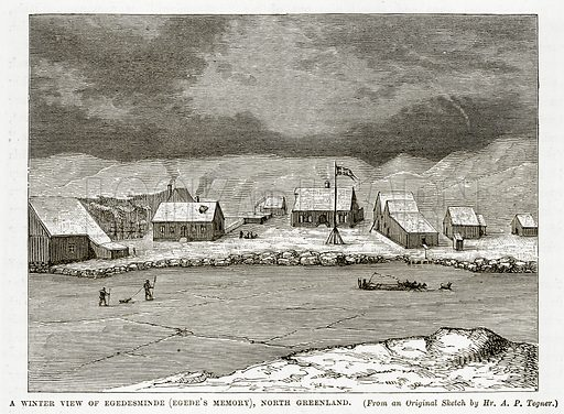 A Winter view of Egedesminde (Egede's Memory), North Greenland. Illustration from The Countries of the World by Robert Brown (Cassell, c 1890).