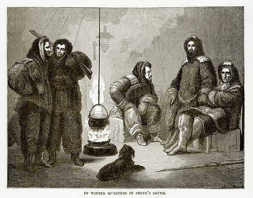 In Winter Quarters in Smith's Sound. Illustration from The Countries of the World by Robert Brown (Cassell, c 1890).
