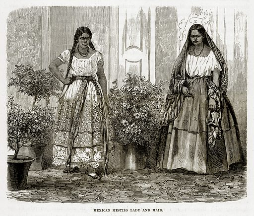 Mexican Mestizo Lady and Maid. Illustration from The Countries of the World by Robert Brown (Cassell, c 1890).