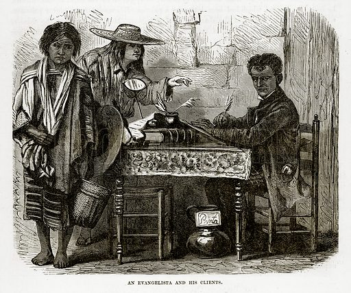 An Evangelista and his Clients. Illustration from The Countries of the World by Robert Brown (Cassell, c 1890).
