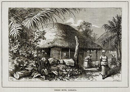 Negro Huts, Jamaica. Illustration from The Countries of the World by Robert Brown (Cassell, c 1890).