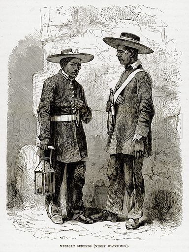 Mexican Serenos (Night Watchmen). Illustration from The Countries of the World by Robert Brown (Cassell, c 1890).