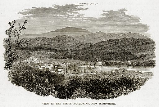 View in the White Mountains, New Hamphire. Illustration from The Countries of the World by Robert Brown (Cassell, c 1890).