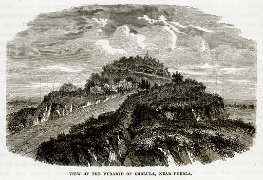 View of the Pyramid of Cholula, near Puebla. Illustration from The Countries of the World by Robert Brown (Cassell, c 1890).
