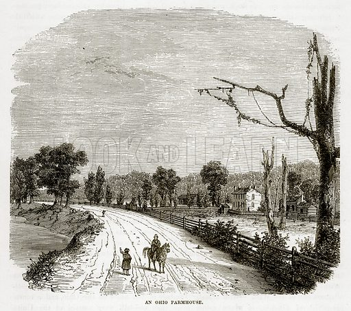 An Ohio Farmhouse. Illustration from The Countries of the World by Robert Brown (Cassell, c 1890).