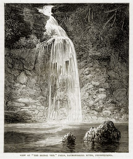 "View of ""The Bridal Veil"" Falls, Raymondskill River, Pennsylvania. Illustration from The Countries of the World by Robert Brown (Cassell, c 1890)."