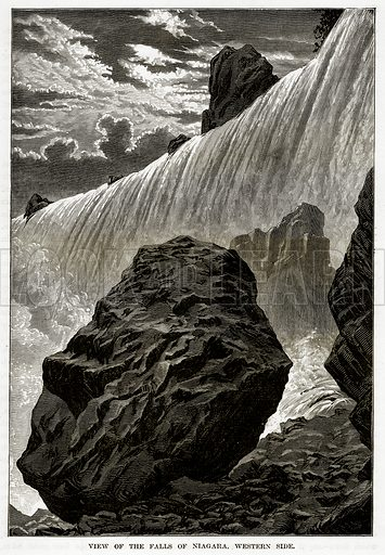 View of the Falls of Niagara, Western Side. Illustration from The Countries of the World by Robert Brown (Cassell, c 1890).