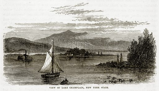 View of Lake Champlain, New York State. Illustration from The Countries of the World by Robert Brown (Cassell, c 1890).