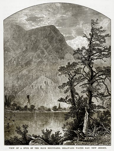 View of a Spur of the Blue Mountains, Delaware Water Gap, New Jersey. Illustration from The Countries of the World by Robert Brown (Cassell, c 1890).