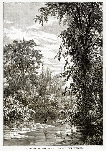 View of Salmon Brook, Granby, Connecticut. Illustration from The Countries of the World by Robert Brown (Cassell, c 1890).