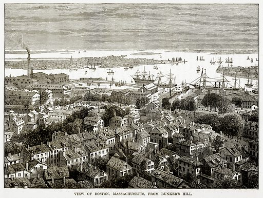 View of Boston, Massachusetts, from Bunker's Hill. Illustration from The Countries of the World by Robert Brown (Cassell, c 1890).