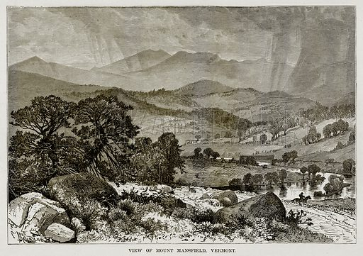 View of Mount Mansfield, Vermont. Illustration from The Countries of the World by Robert Brown (Cassell, c 1890).