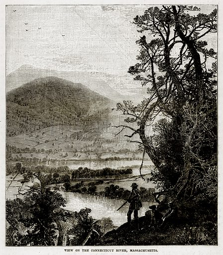View of the Connecticut River, Massachusetts. Illustration from The Countries of the World by Robert Brown (Cassell, c 1890).