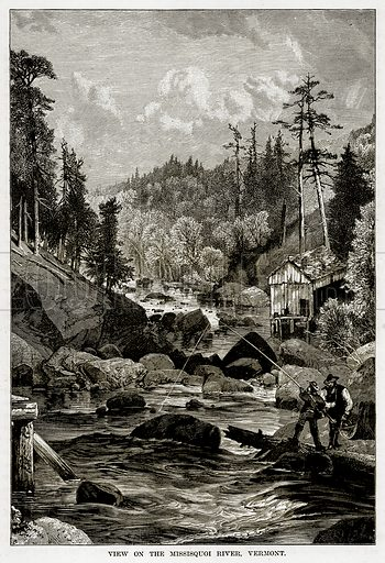 View on the Missisquoi River, Vermont. Illustration from The Countries of the World by Robert Brown (Cassell, c 1890).