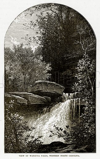 View of Watauga Falls, Western North Carolina. Illustration from The Countries of the World by Robert Brown (Cassell, c 1890).
