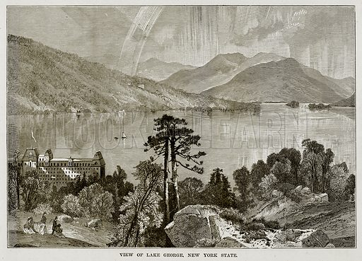 View of Lake George, New York State. Illustration from The Countries of the World by Robert Brown (Cassell, c 1890).