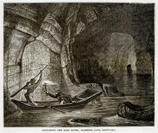 Exploring the Echo River, Mammoth Cave, Kentucky. Illustration from The Countries of the World by Robert Brown (Cassell, c 1890).